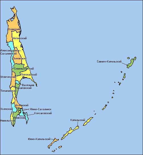 Карта Долинского Района Сахалинской Области